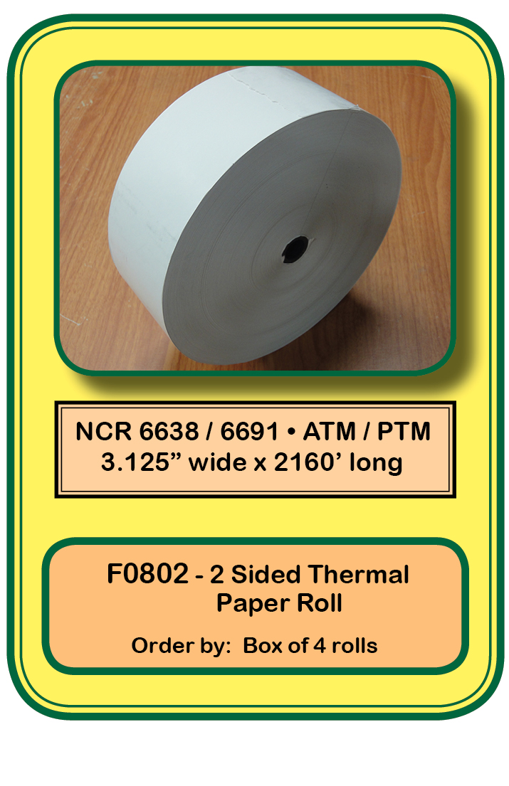 NCR 6638 / 6691-2 sided-Thermal Paper Roll <b><u>NO SENSE
