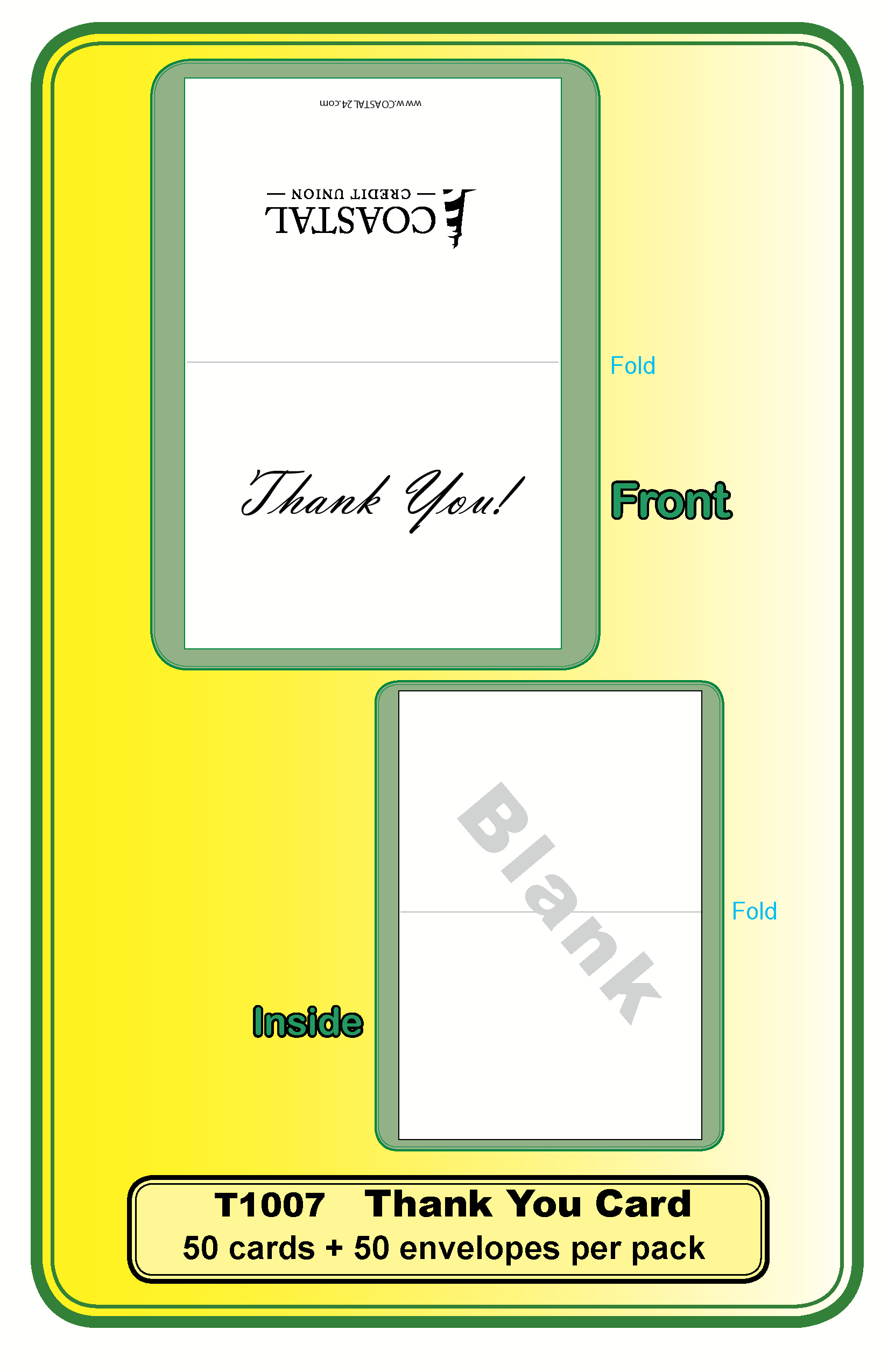 Thank You Card With Envelopes B Order By Pack Of 50 Cards 50